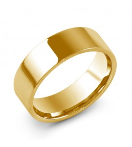 Gents 9ct Yellow Gold Flat Court Wedding Ring 7mm
