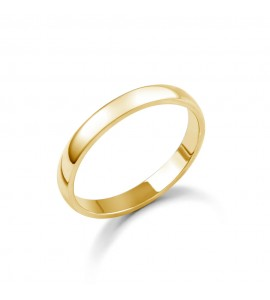 Ladies 18ct Yellow Gold D-Shape Wedding Ring 2.5mm