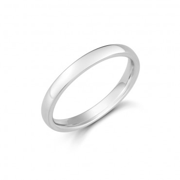 Ladies White Gold Soft Edged Comfort Ring 2.5mm