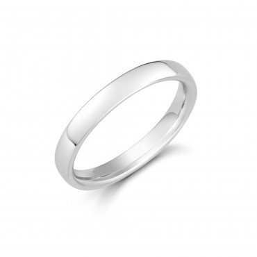 Ladies 18ct White Soft Edged Comfort Fit Ring 3mm