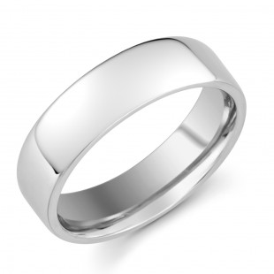 Gents Platinum Soft Edged Comfort Fit Ring 6mm