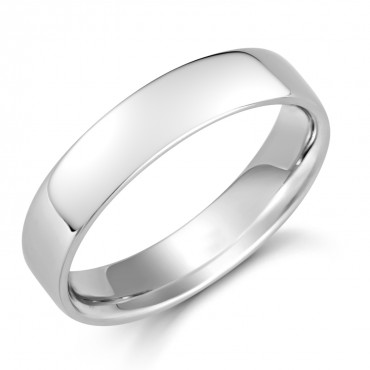 Gents Platinum Soft Edged Comfort Fit Ring 5mm