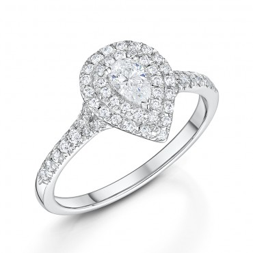 Pear Double Halo Diamond Ring 0.50cts