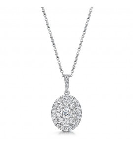 Vintage Oval Halo Diamond Pendant 0.57cts