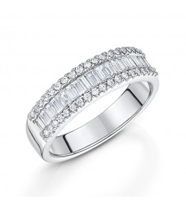 Baguette and Brilliant Cut Diamond Ring 0.70cts