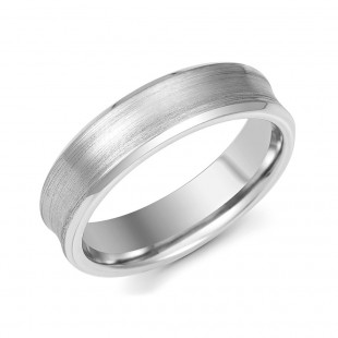 Palladium Gents Matt Concave Wedding Ring 6mm
