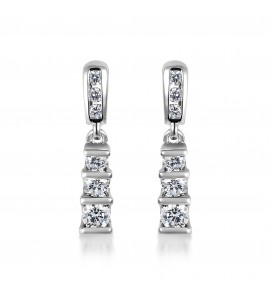 9ct White Gold Diamond Trilogy Earrings 0.50cts