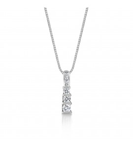 9ct White Gold Diamond Trilogy Pendant 0.50cts
