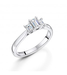 Classic Emerald Cut Trilogy Diamond Ring 0.50cts