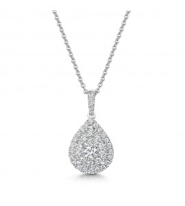 Vintage Pear Halo Diamond Pendant 0.51cts