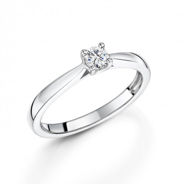 18ct White Gold Brilliant Diamond Ring 0.19ct