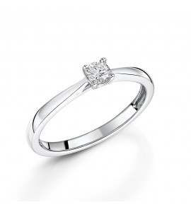 18ct White Gold Brilliant Diamond Ring 0.15ct