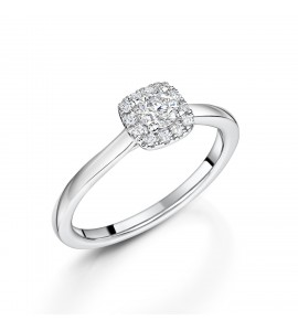 18ct White Gold Diamond halo ring 0.31ct