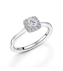 18ct White Gold Diamond Halo Ring 0.43ct
