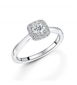 18ct White Gold Diamond Halo Ring 0.52ct