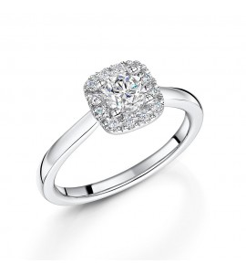 18ct White Gold Diamond Halo Ring 0.63ct