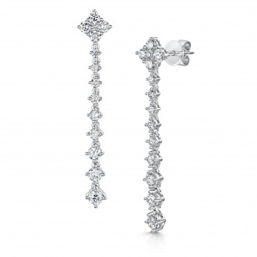 Brilliant Cut Diamond Drop Earrings 1.39cts