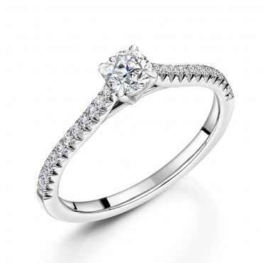 Diamond Shoulder Solitaire Ring 0.64cts