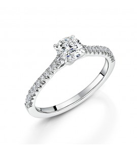 Diamond Shoulder Solitaire Ring 0.74cts