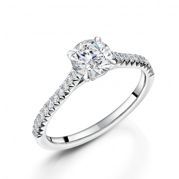 Diamond Shoulder Soitaire Ring 1.04cts