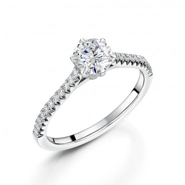Diamond Shoulder Soitaire Ring 0.94cts