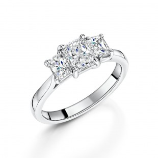 Platinum Radiant Diamond Trilogy Ring 1.57ct