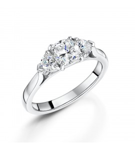 Platinum Cushion and Heart 3-Stone Ring 1.38ct