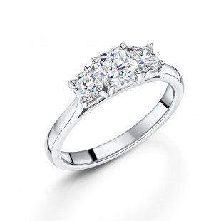 Platinum Cushion 3-Stone Ring 1.30ct