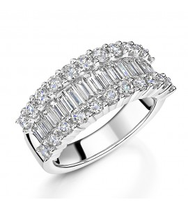Baguette and Brilliant Diamond Dress Ring 2.17ct