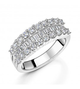 Baguette and Brilliant Diamond Dress Ring 1.61ct