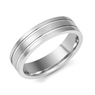 Gents Palladium Matt and Polish Wedding Ring 6mm