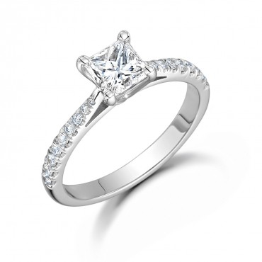 Classic Pave Princess Diamond Ring 1.26cts