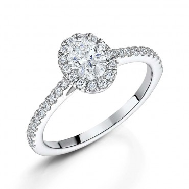 Oval Diamond Halo Ring 0.85cts