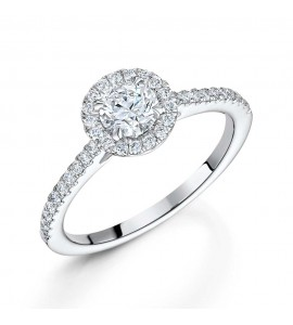 Brilliant Diamond Halo Ring 0.85cts