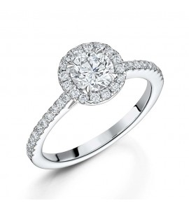 Brilliant Diamond Halo Ring 1.05cts