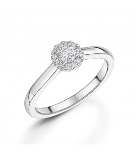Brilliant Diamond Halo Ring 0.26ct
